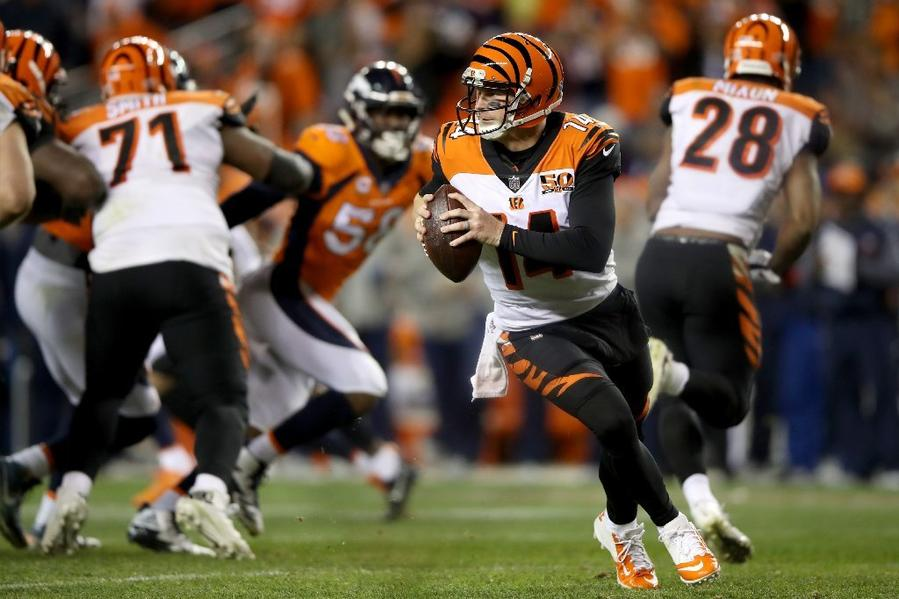 Bengals quarterback Andy Dalton looks to pass during a game against the Broncos on Nov. 19. (Matthew Stockman / Getty Images)