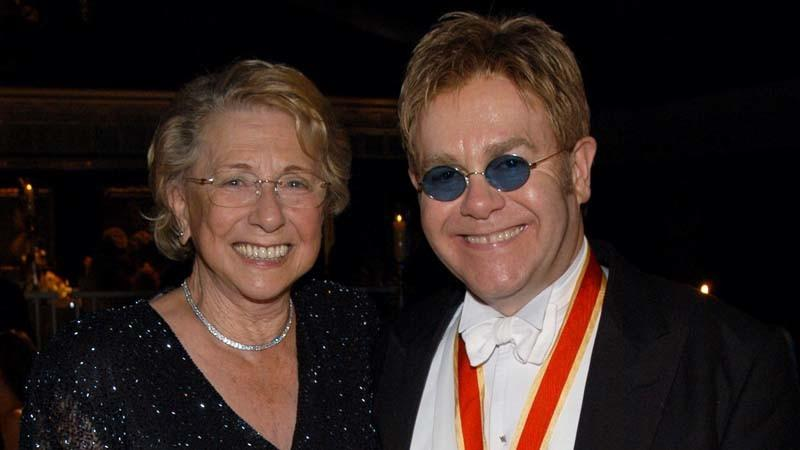Elton John and his mother, Sheila Farebrother, in 2003. (KMazur / WireImage)