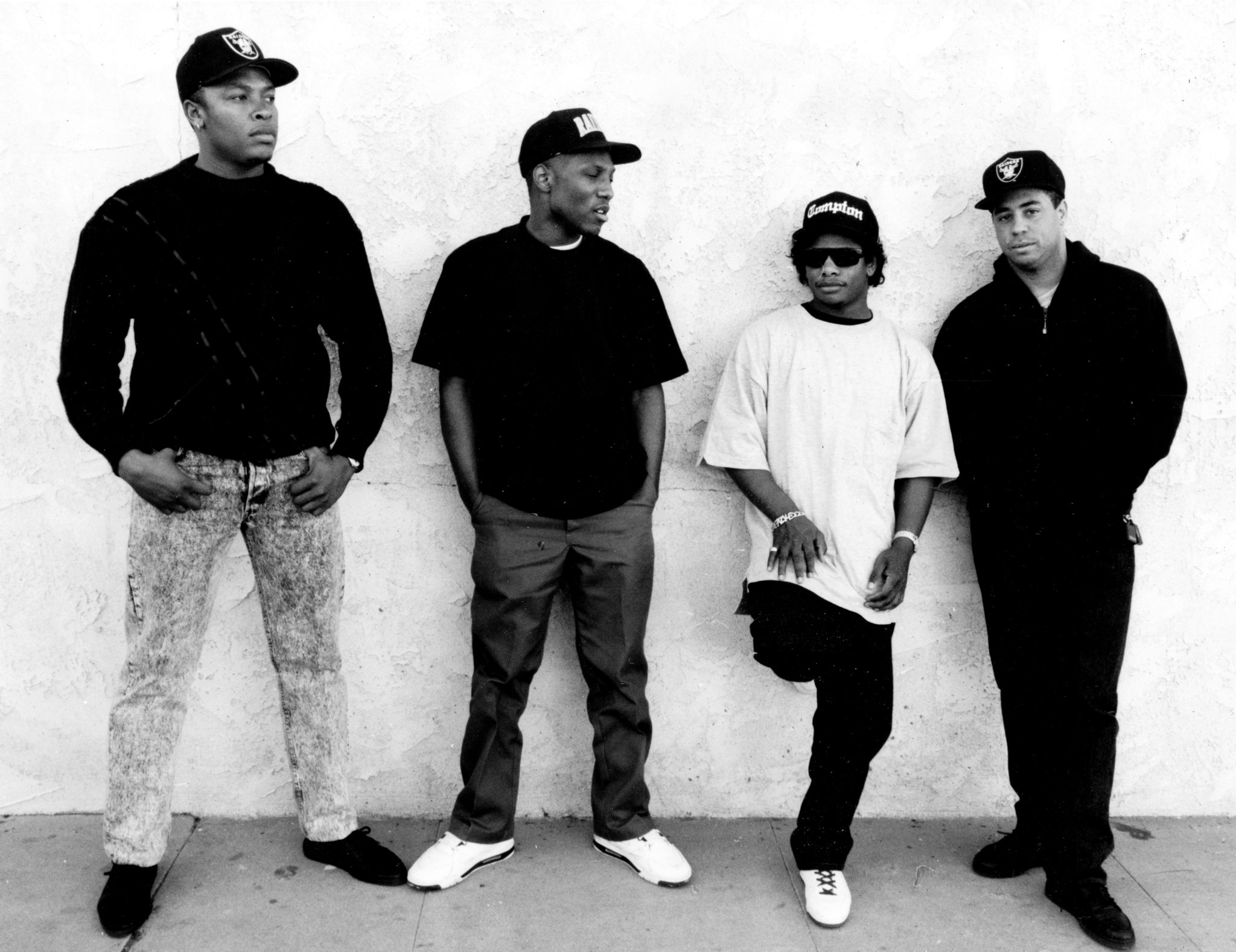From left, N.W.A.'s Eazy-E, DJ Yella, Dr. Dre, and M.C. Ren. Jan. 26, 1990. (Tony Barnard / Los Angeles