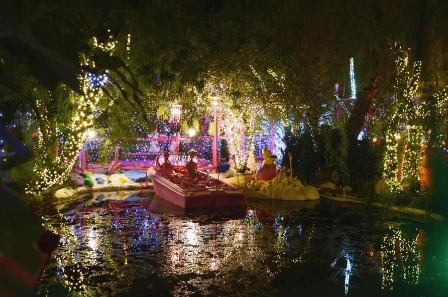 The Robolights yard includes a pond. (Christopher Reynolds/Los Angeles Times)
