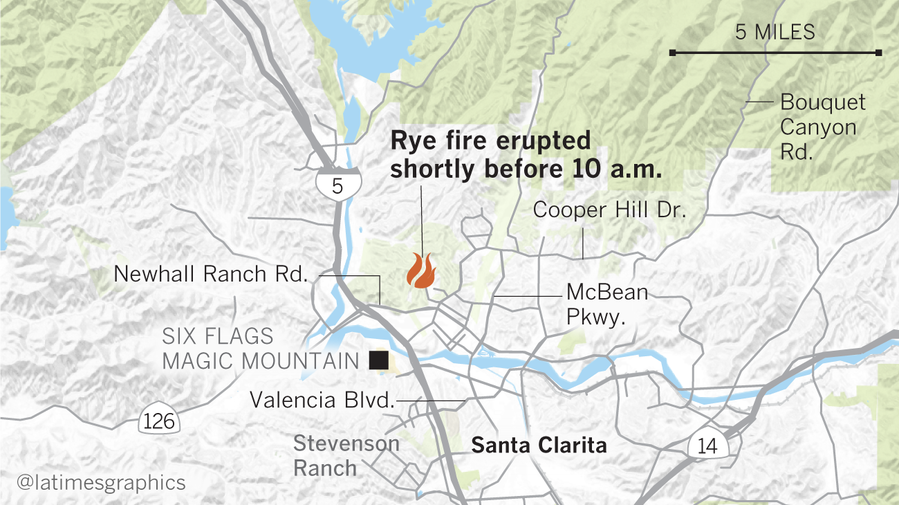 Magic Mountain safe: Wild Santa Clarita Rye Fire roars across 7000 acres