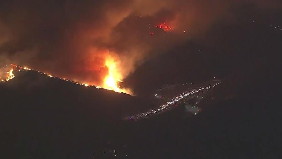 A fire rages near the Getty in Bel-Air. (KTLA)