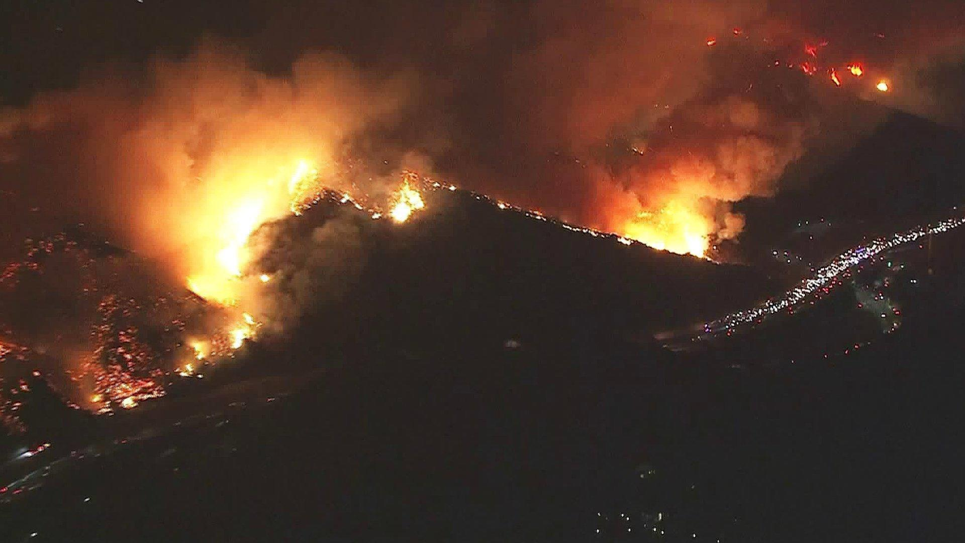 Several homes burning in Bel Air as fire closed 405, forced evacuations