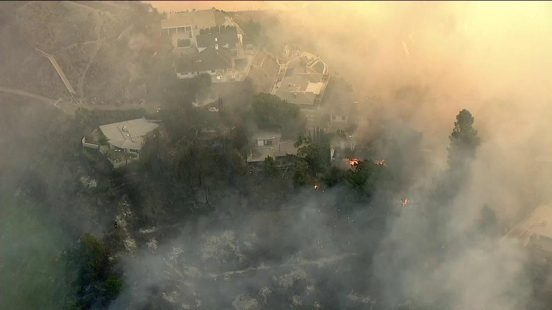 Fire in the hills of Bel-Air forced mandatory evacuations. (KTLA-TV)