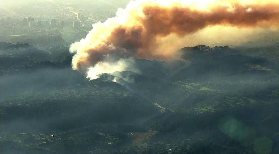 An aerial view of the Bel-Air area shows the Skirball fire, which prompted the closure of the 405 Freeway as well as mandatory evacuations. (KTLA)