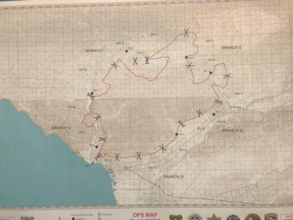 Outline of the Ventura County fire