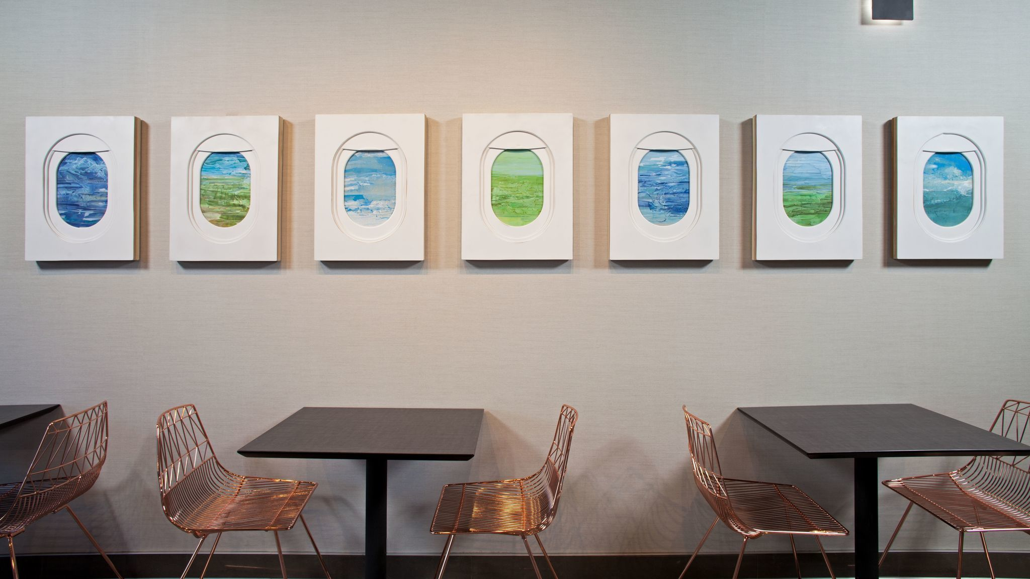 You can see airplanes outside and inside this LAX hotel where art reflects an aviation vibe
