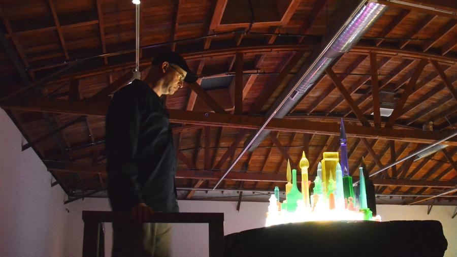 A visitor views a Mike Kelley artwork at the Hauser & Wirth gallery. . (Christopher Reynolds / Los Angeles Times)