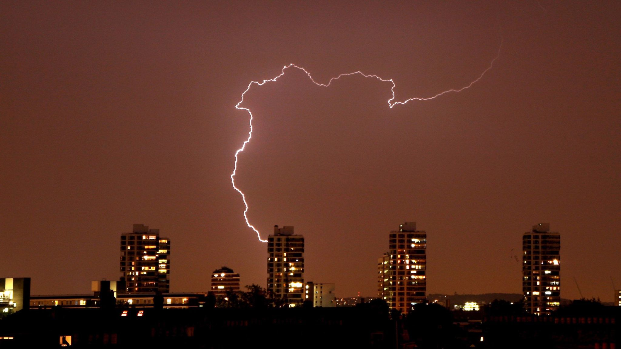 Lightning Strikes Over London Skyline