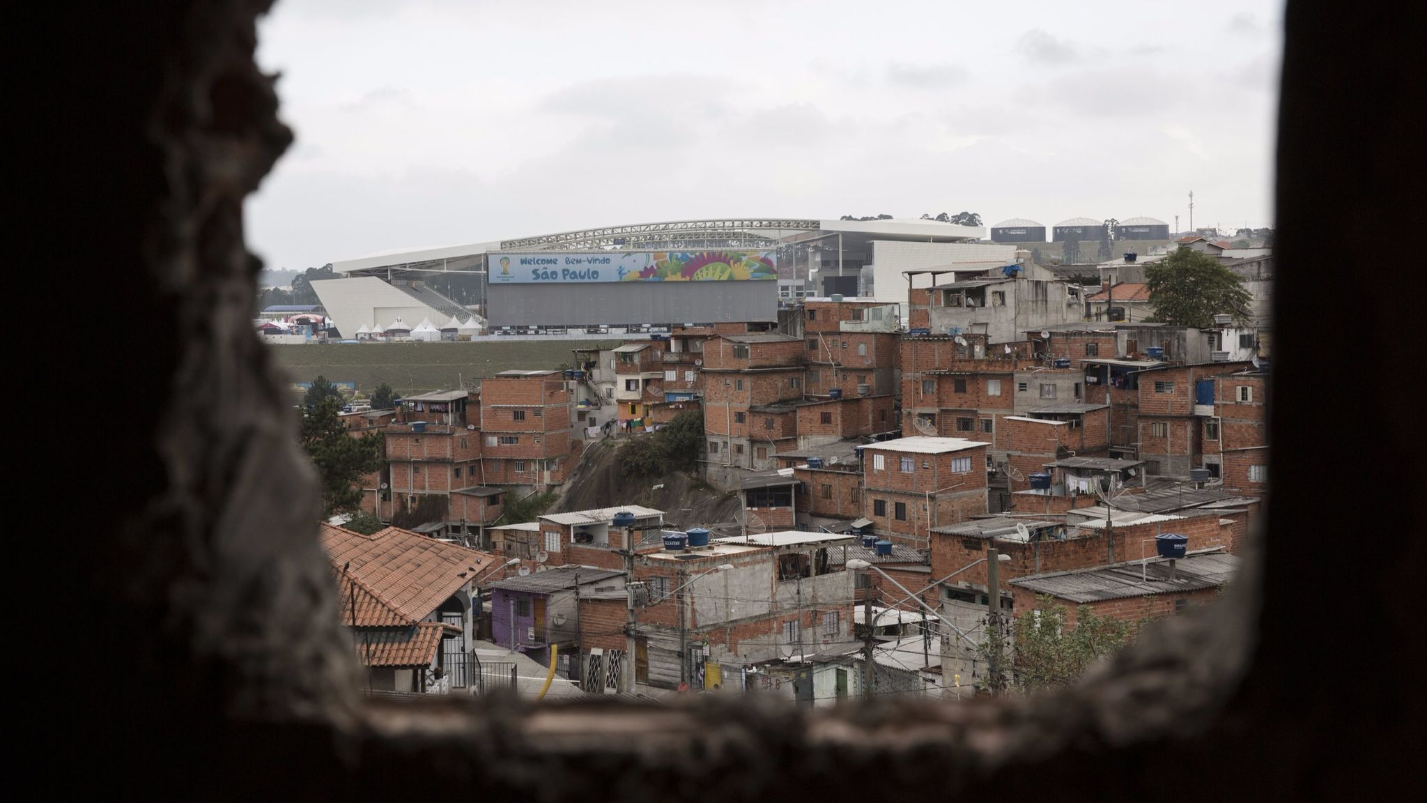 Daily Life in the Neighborhood Adjacent to the 200 Million Pound Arena de Sao Paulo