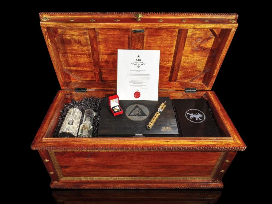 The 24K MBox features a crystal-encrusted vaporizer, a diamond-studded gold blunt tip and limited-edition strains, all for $24,000. (ClubM)