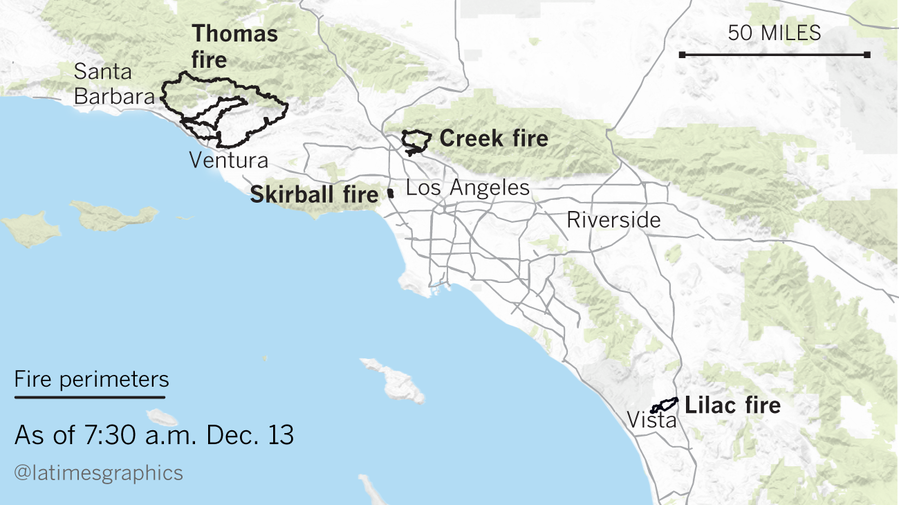 Fire At Santa Paula >> Here are maps showing all the major fires in Southern California - LA Times