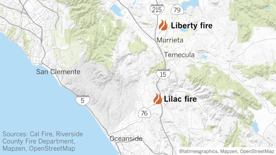 Updates On Lilac Fire >> Map: New fires threaten structures in Riverside and San Diego counties - LA Times