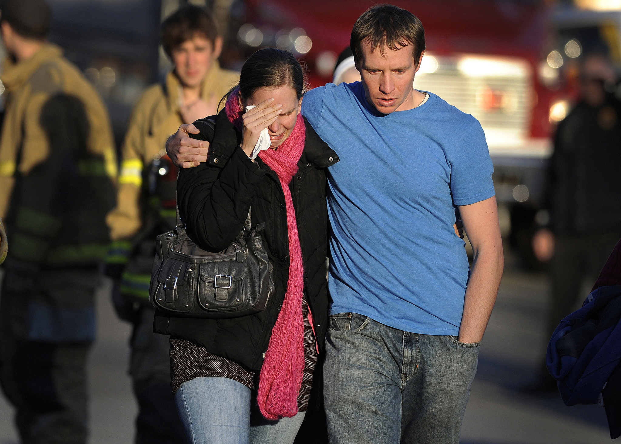 Alissa and Robbie Parker leave the Sandy Hook firehouse on Dec. 14, 2012 after receiving word that their six-year-old daughter, Emilie, was one of the 20 children killed in the Sandy Hook School shooting.