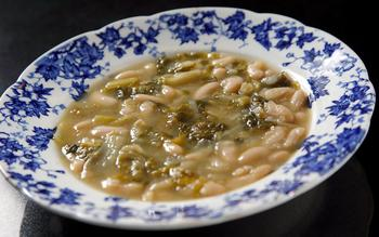 White bean and escarole soup with olio nuovo
