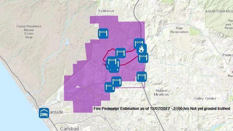 Lilac Fire Map Updated >> Here's a map of the latest fire perimeters and evacuation centers - LA Times
