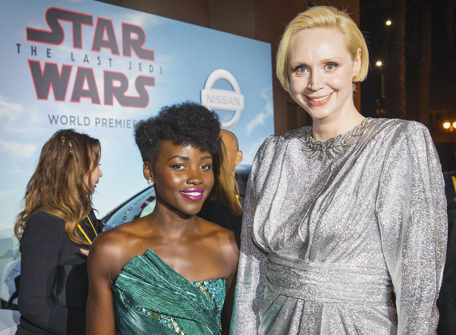 """Lupita Nyong'o, left, and Gwendoline Christie arrive at the world premiere of """"Stars Wars: The Last Jedi"""" on Saturday in L.A. (Invision)"""
