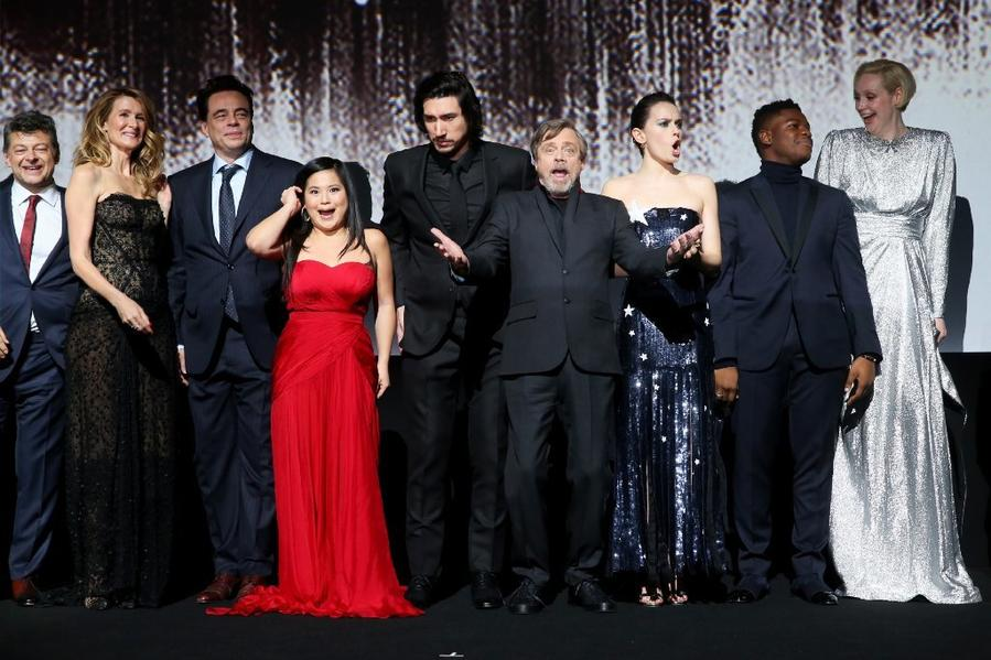 From left: Andy Serkis, Laura Dern, Benicio del Toro, Kelly Marie Tran, Adam Driver, Mark Hamill, Daisy Ridley, John Boyega and Gwendoline Christie. (Jesse Grant / Getty Images)