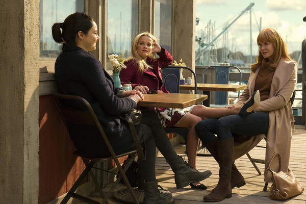 "Golden Globe nominees Shailene Woodley, left, Reese Witherspoon and Nicole Kidman of ""Big Little Lies."" (HBO)"