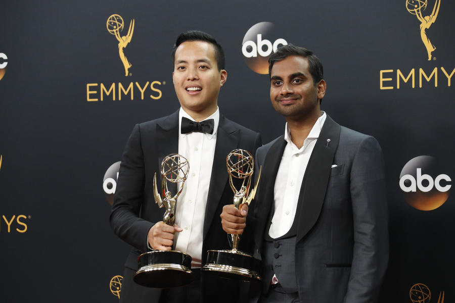 """Master of None"" co-creators Alan Yang and Aziz Ansari at the 68th Primetime Emmy Awards.  The show picked up two Golden Globe nominations. (Allen J. Schaben / Los Angeles Times)"
