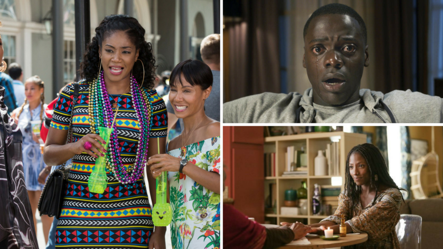 """From left: Tiffany Haddish and Jada Pinkett Smith in """"Girls Trip,"""" Daniel Kaluuya in """"Get Out"""" and Rutina Wesley in """"Queen Sugar."""" (Michele K. Short / Universal Pictures / Universal Pictures / Patti Perret / OWN)"""