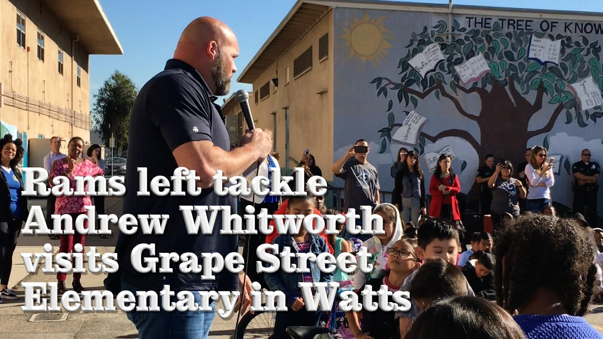 Watch as Rams left tackle Andrew Whitworth surprises elementary