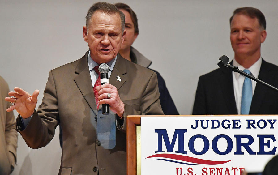 Roy Moore addresses supporters Tuesday night in Montgomery, Ala. (Mike Stewart / Associated Press)