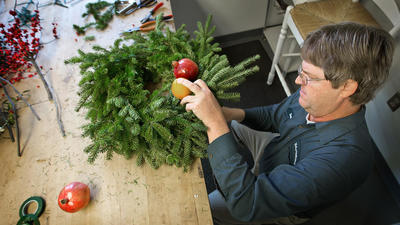 Behind Colonial Williamsburg's Historic Area decorations
