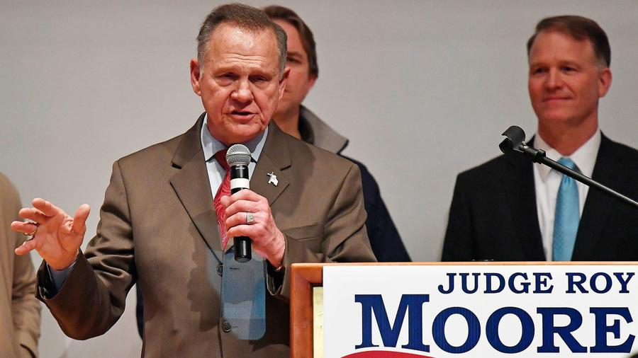 Senate candidate Roy Moore speaks at the end of an election-night watch party on December 12th in Montgomery, Alabama. — Photograph: Mike Stewart/Associated Press.