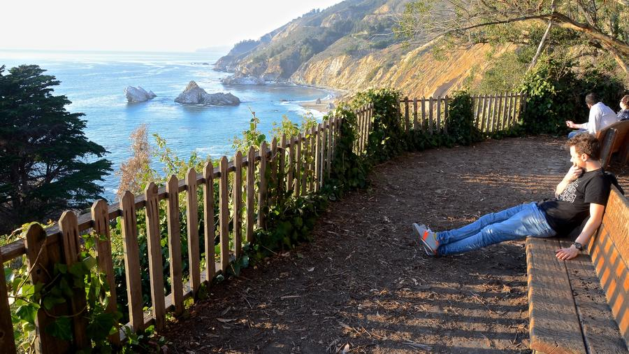 Looking north from the McWay Falls Trail. (Christopher Reynolds/Los Angeles Times)