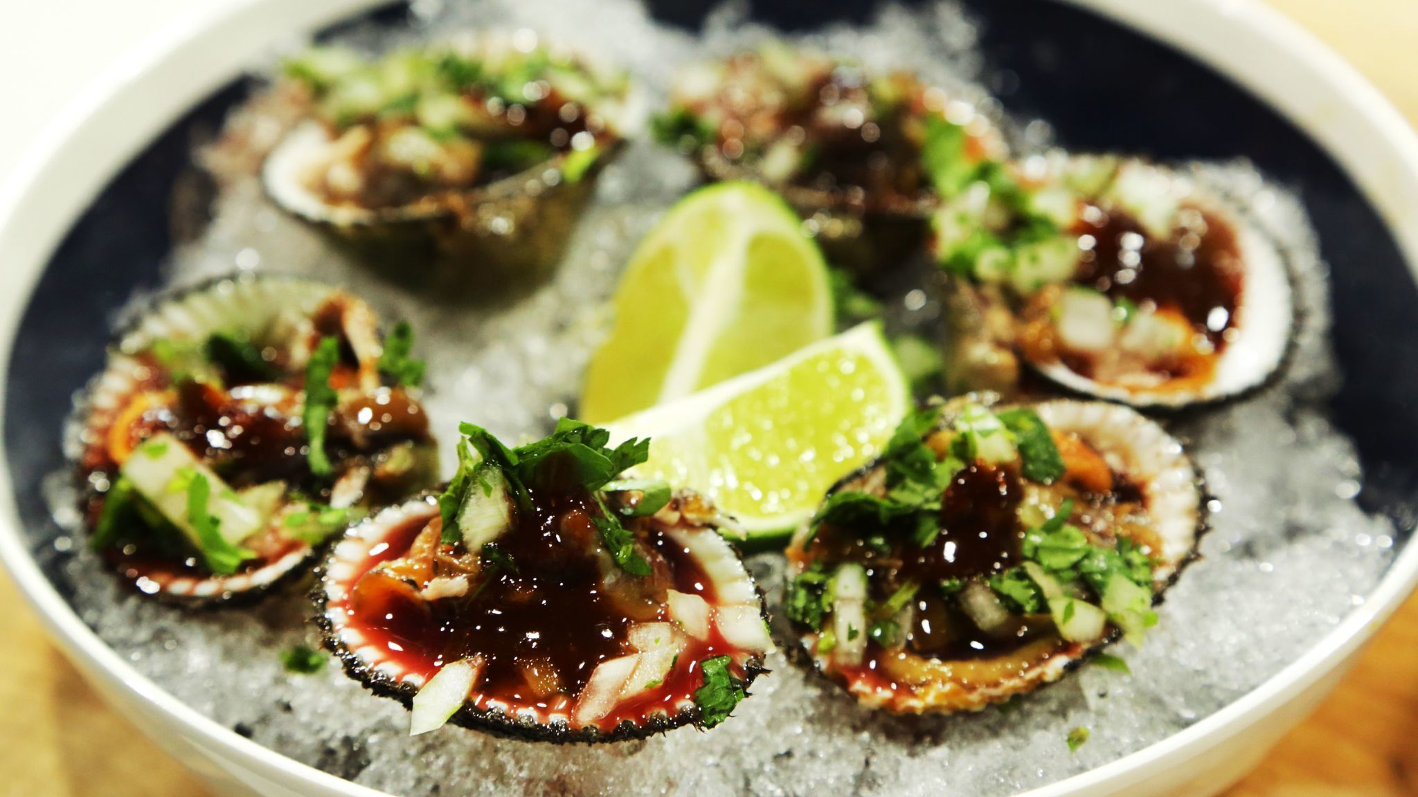 LOS ANGELES, CA - MARCH 15, 2017: Blood clams are on chef Gilberto Cetina's Yucatan seafood menu at