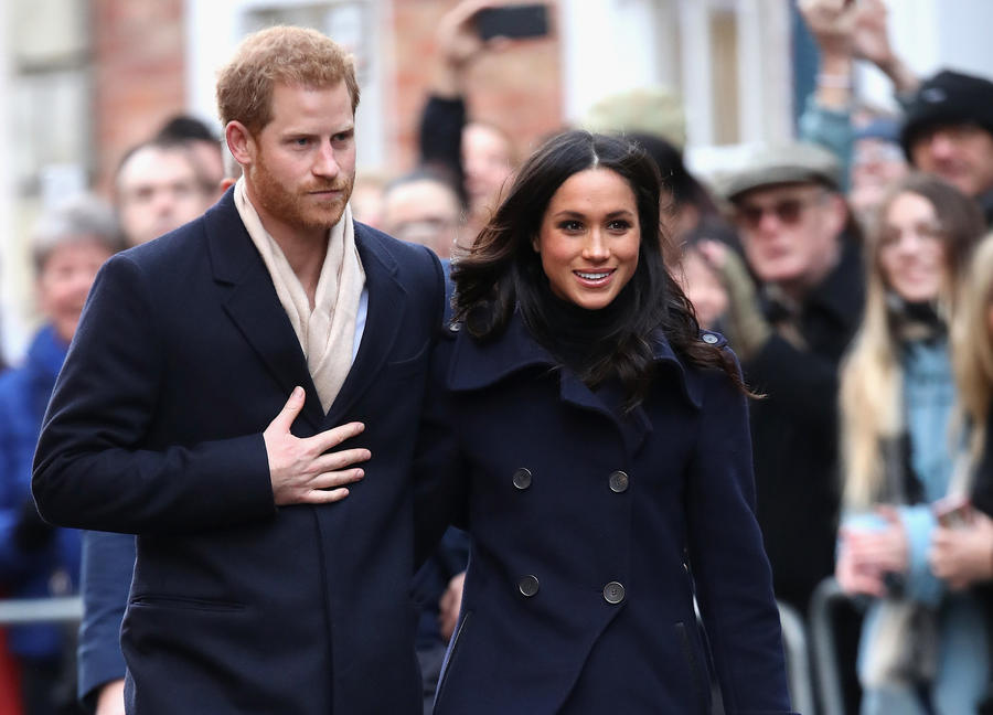 Prince Harry and Meghan Markle in Nottingham, England, earlier this month. (Chris Jackson / Getty Images)