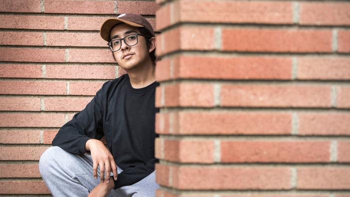 Teenage Chicano heartthrob Cuco near his home in Hawthorne. (Brian van der Brug / Los Angeles Times)