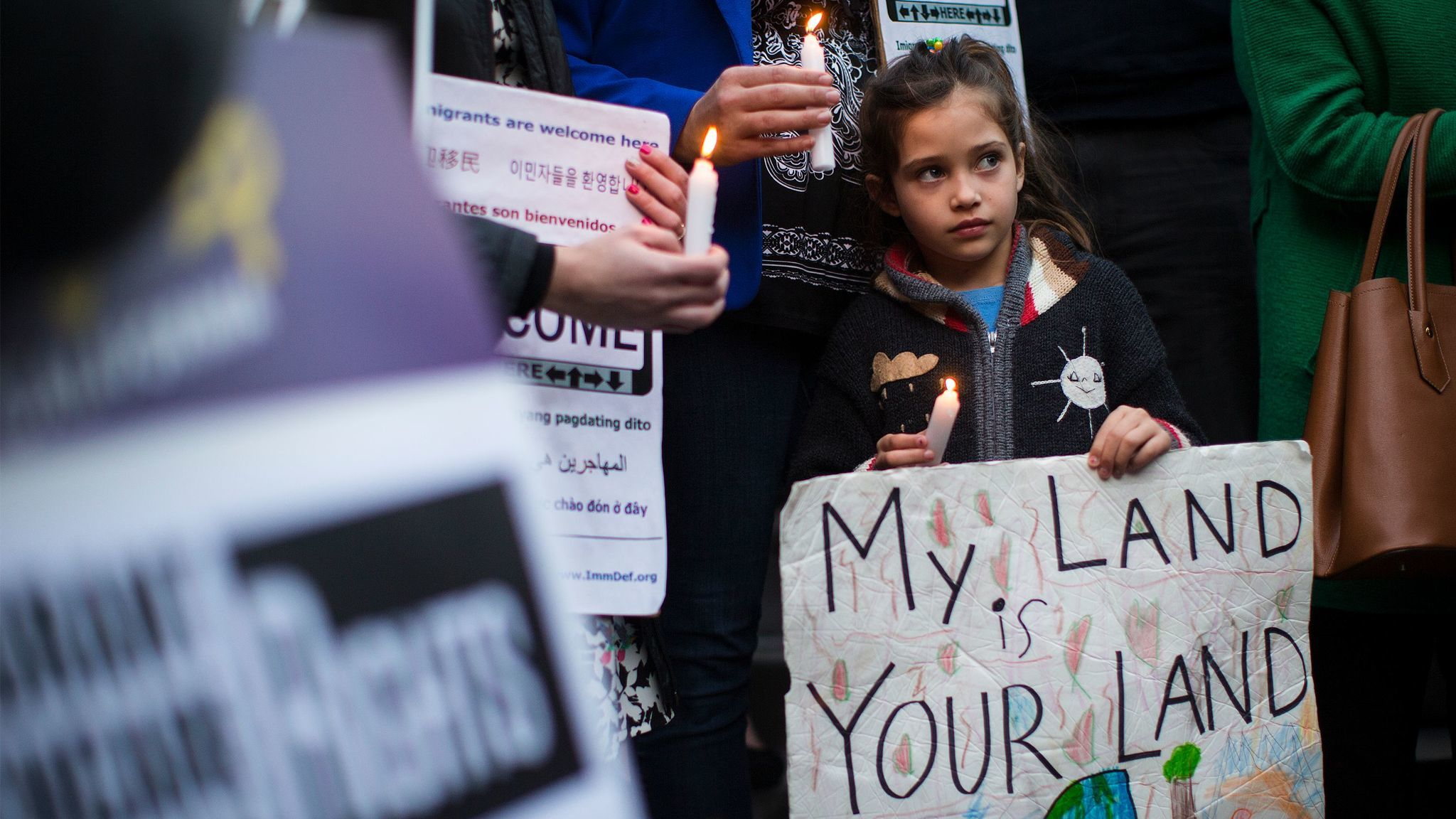LOS ANGELES, CA - JANUARY 25, 2017: Maya Casillas,7, joins in a vigil to protest against President D
