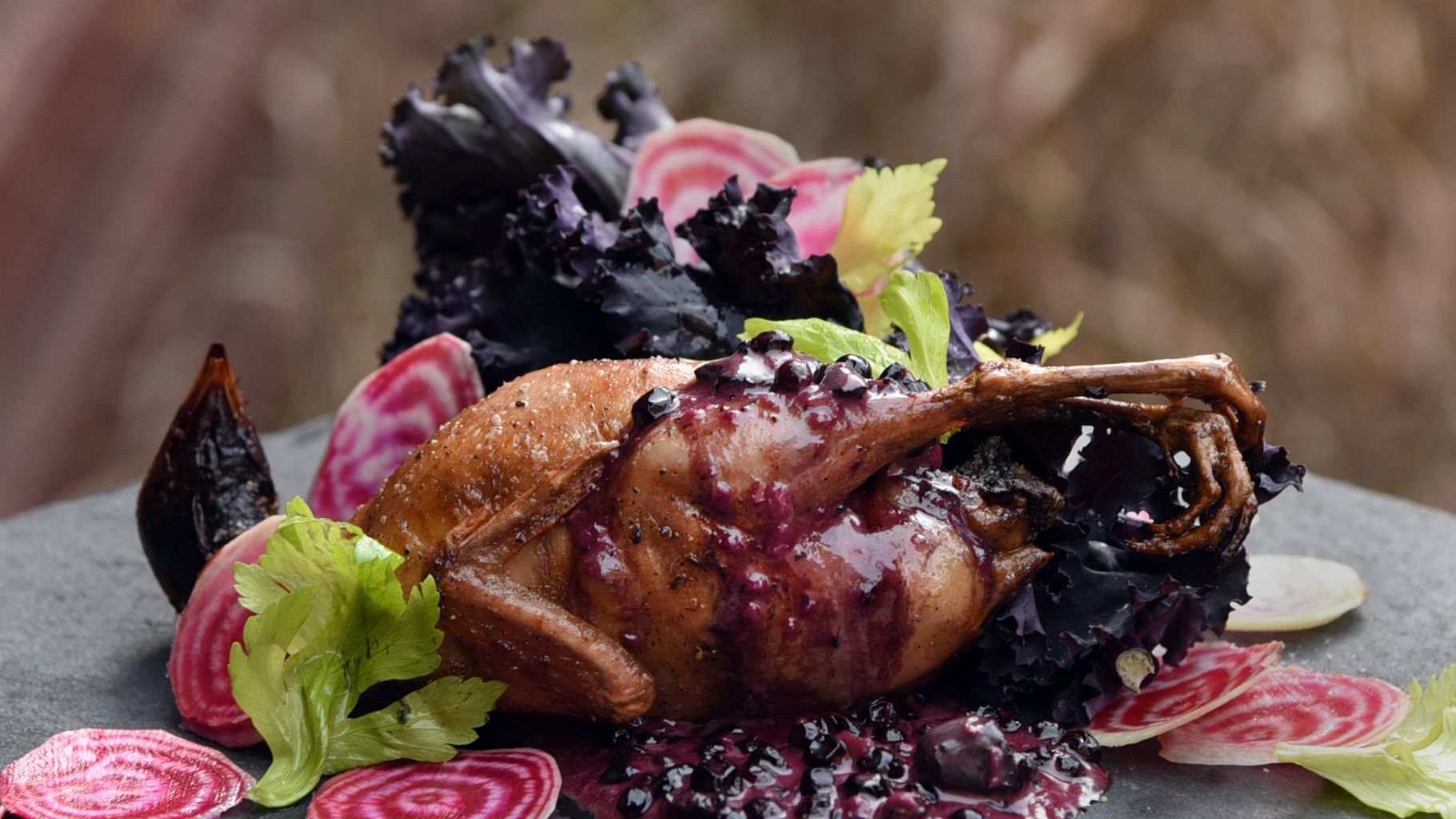 Baltimore, MD--December 6, 2017--Ben Lefenfeld, chef/owner of LaCuchara, prepared this quail with hu