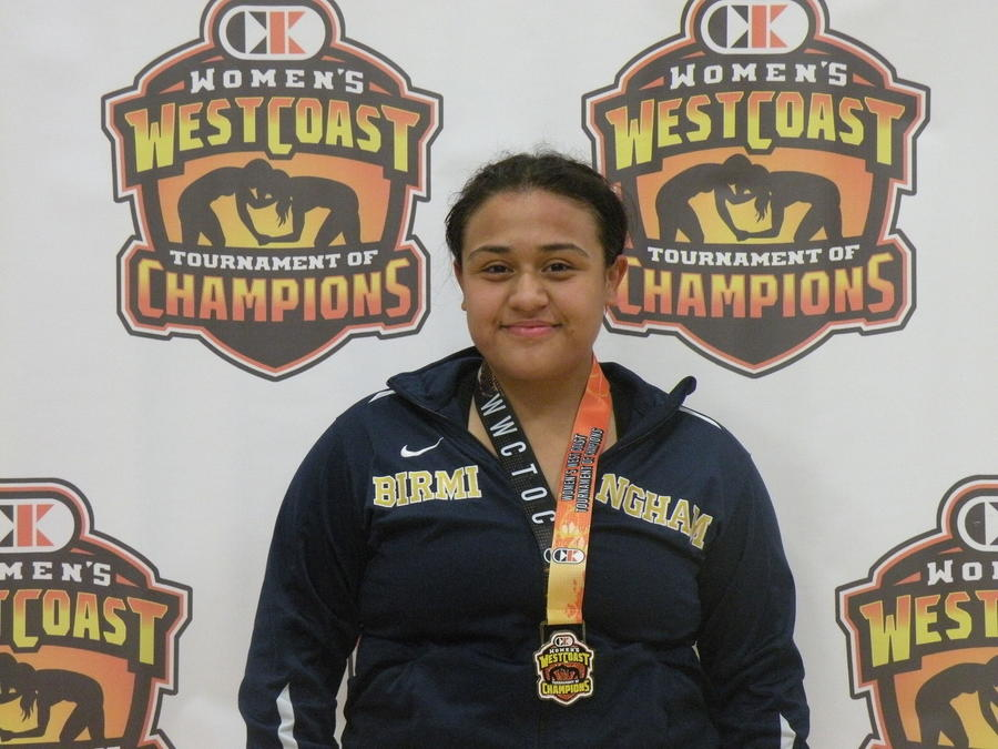 Alexandra Castillo of Birmingham won her weight class at the Women's West Coast Tournament of Champions wrestling competition. (West Coast Tournament of Champions)