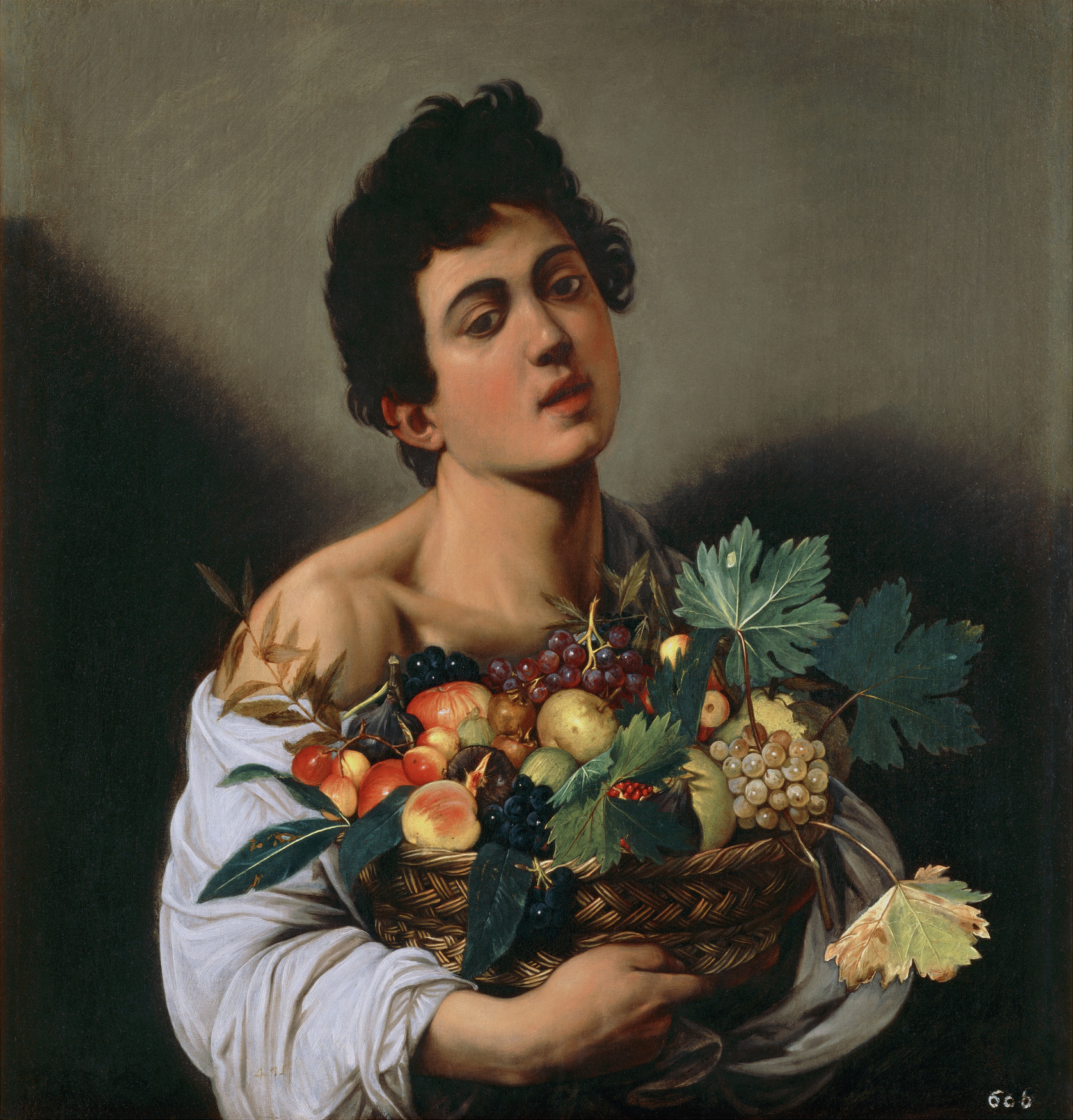 Boy with a Basket of Fruit, about 1593-94. Caravaggio (Italian, 1571-1610). Oil on canvas. Minister