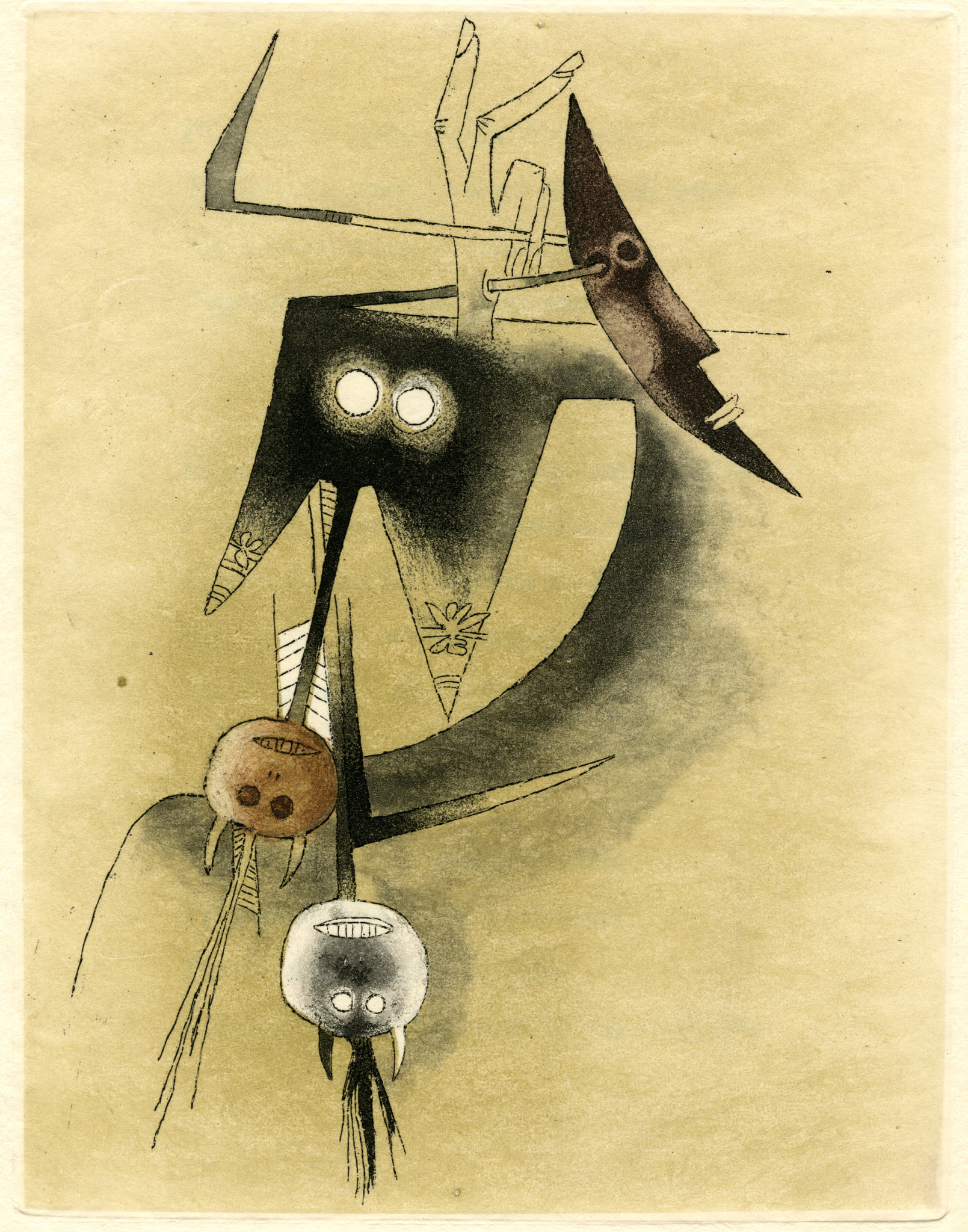 A photograph of the piece Untitled print from Croiseur Noir, ca. 1972. Etching and color aquatint fe