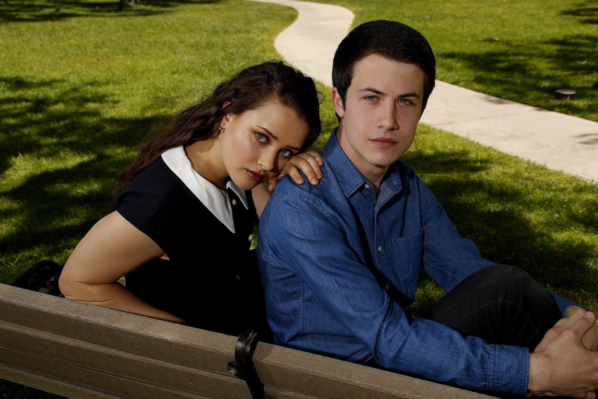 HOLLYWOOD, CA., APRIL 27, 2017--Lead actors, Dylan Minnette and Katherine Langford, star in Netflix'