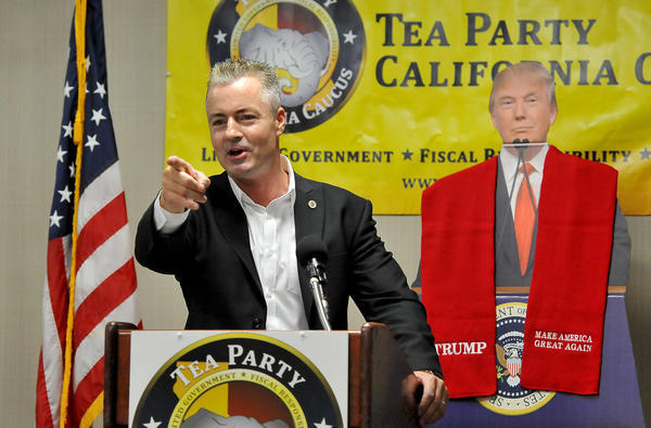 Assemblyman Travis Allen (R-Huntington Beach) speaks at a Tea Party conference in Fresno in August. (Silvia Flores / For The Times)