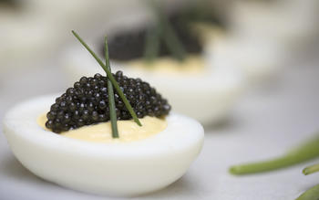 Deviled eggs with California white sturgeon caviar