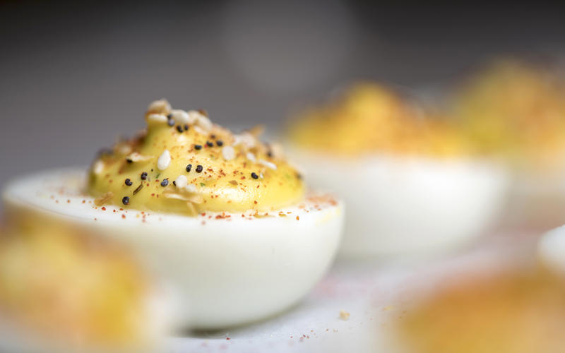 Everything spice deviled eggs