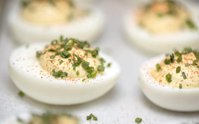 Deviled eggs with Champagne vinegar