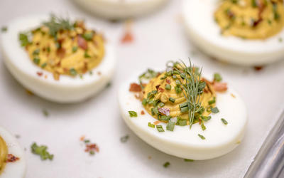 Deviled eggs with chile flake and sea salt