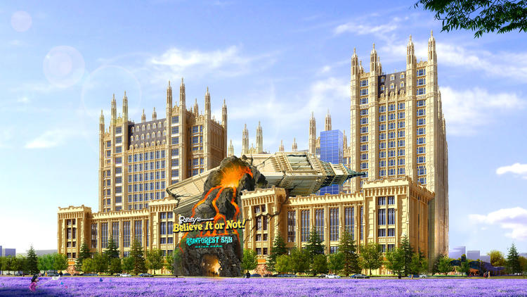 A rendering of development that includes an indoor water park, Ripley's Believe It or Not!, a hotel and apartments.