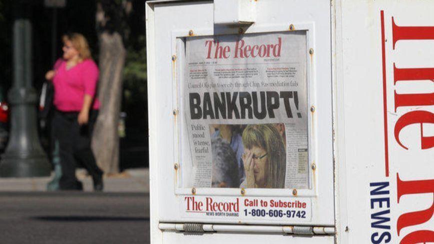 Stockton falls into bankruptcy.