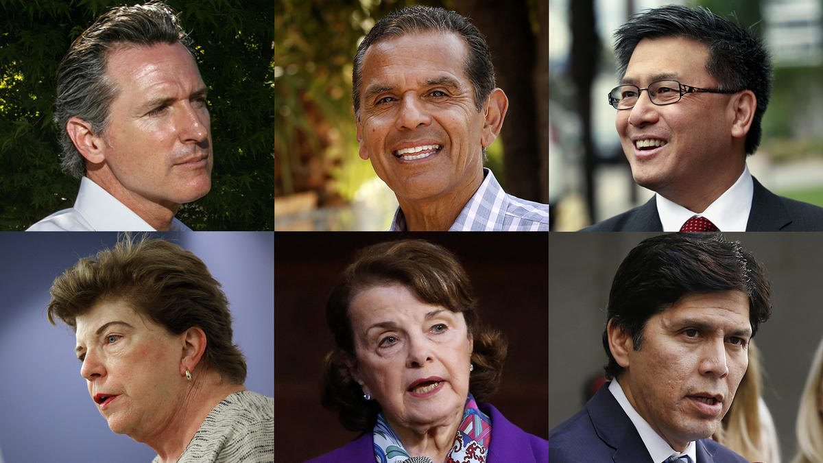 Clockwise from upper left: Gavin Newsom, Antonio Villaraigosa, John Chiang. Kevin de León, Dianne Feinstein and Delaine Eastin. (Los Angeles Times)