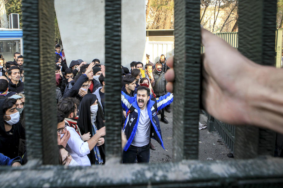 University students attend an anti-government protest at Tehran University on Dec. 30, 2017. (AP)