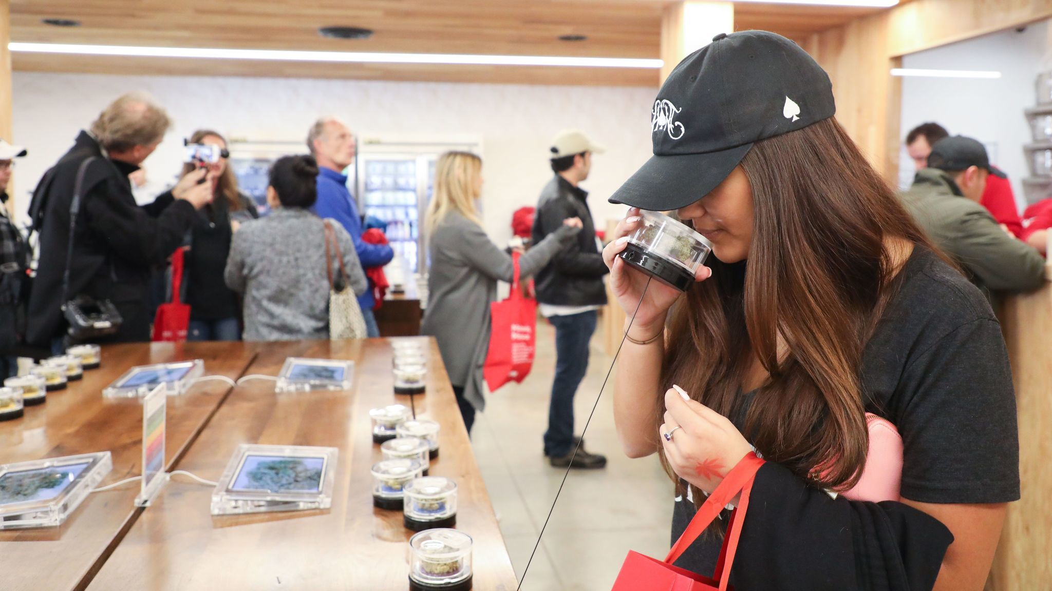 A customer test sniffs the cannabis at the MedMen dispensary in West Hollywood this month. (Eugene Garcia/EPA-EFE/REX/Shutterstock)