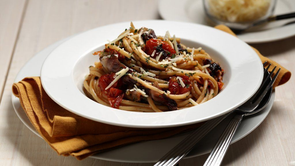 Slow-roasted vegetables make sumptuous sauce for pasta